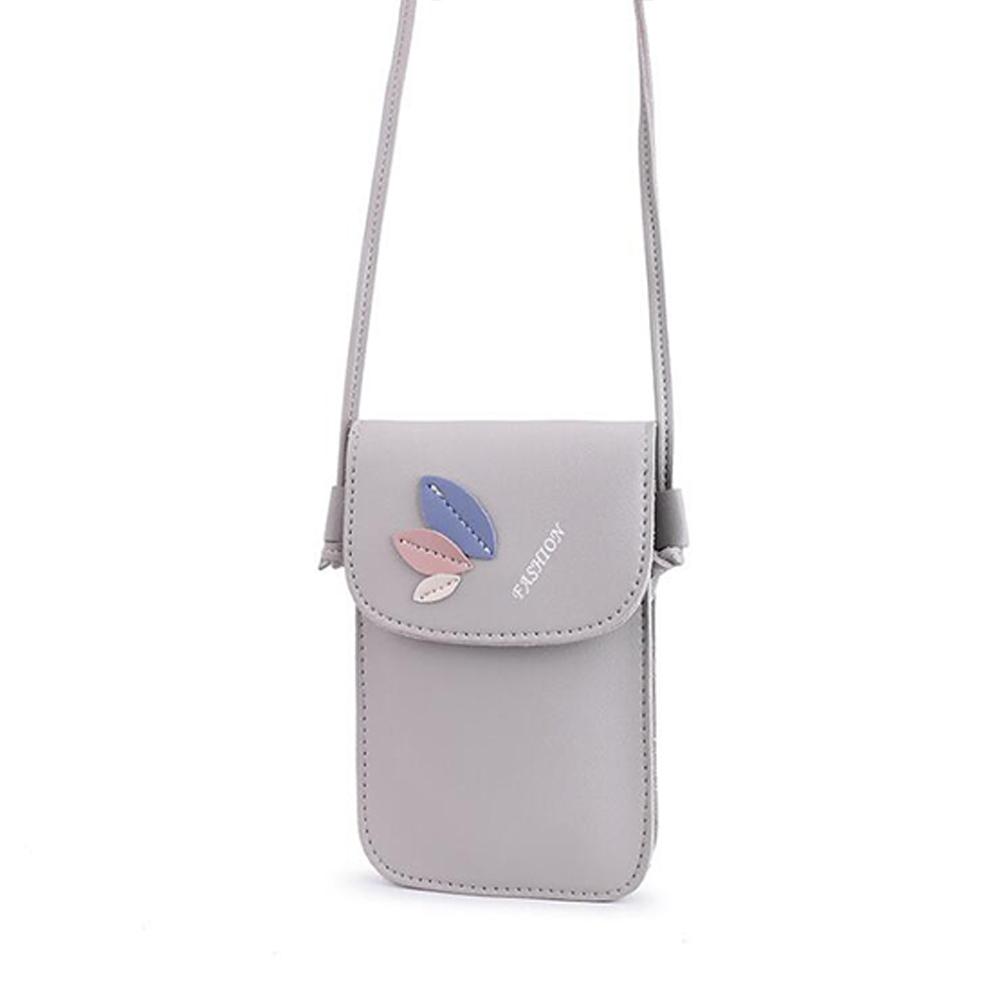 Women Mini Cellphone Bag Satchel Leaf Single Strap Cross-body PU Leather Fashion Bag gray