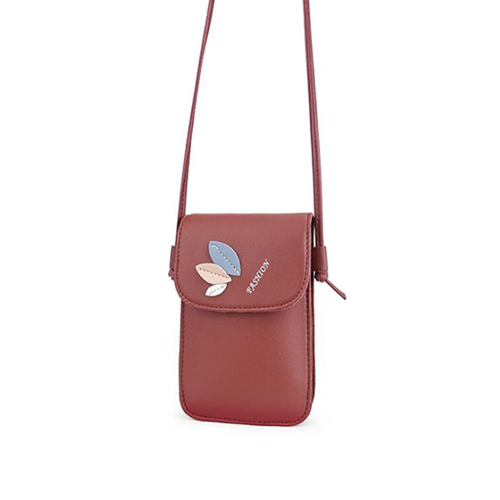 Women Mini Cellphone Bag Satchel Leaf Single Strap Cross-body PU Leather Fashion Bag red