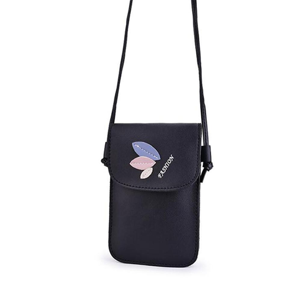 Women Mini Cellphone Bag Satchel Leaf Single Strap Cross-body PU Leather Fashion Bag black
