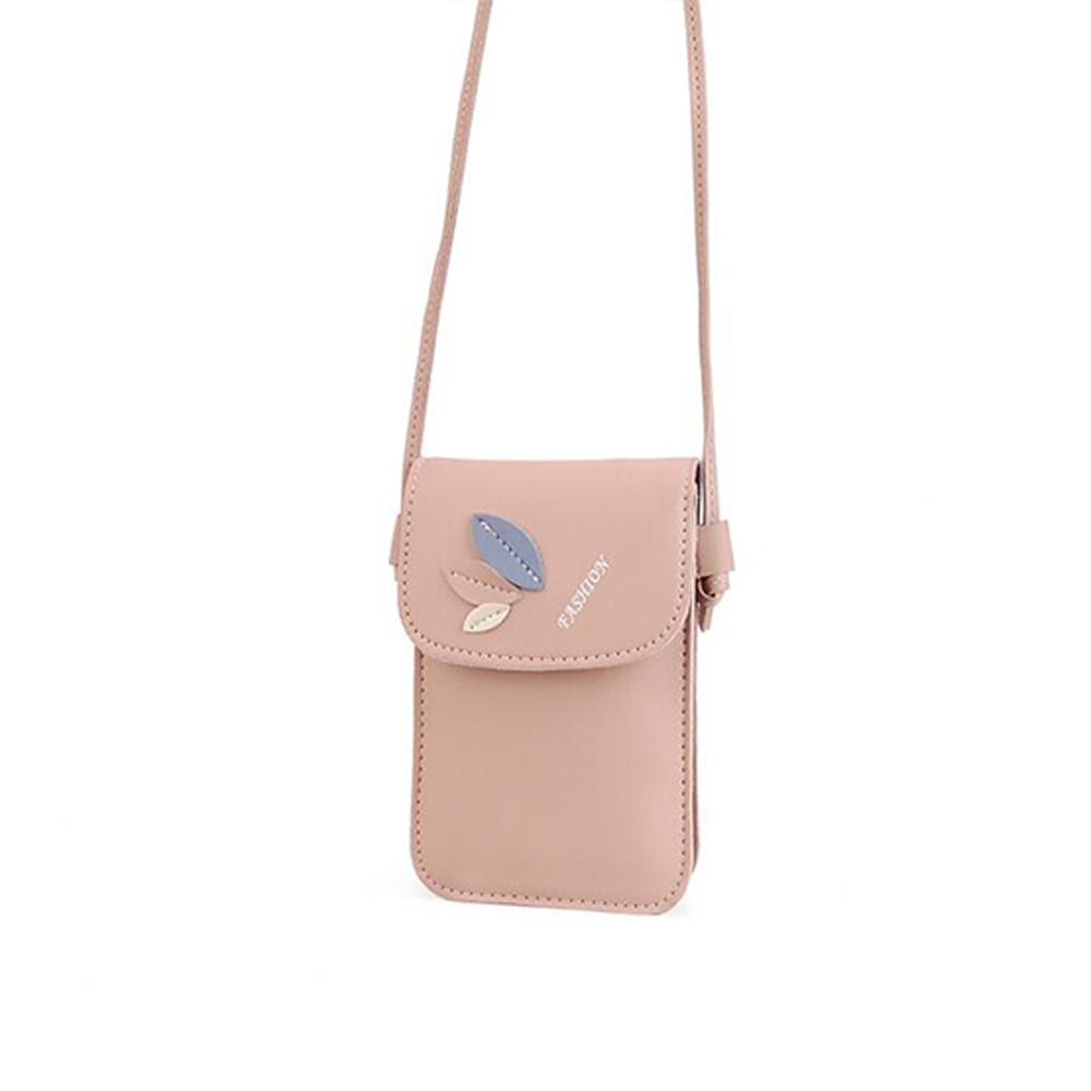 Women Mini Cellphone Bag Satchel Leaf Single Strap Cross-body PU Leather Fashion Bag Pink