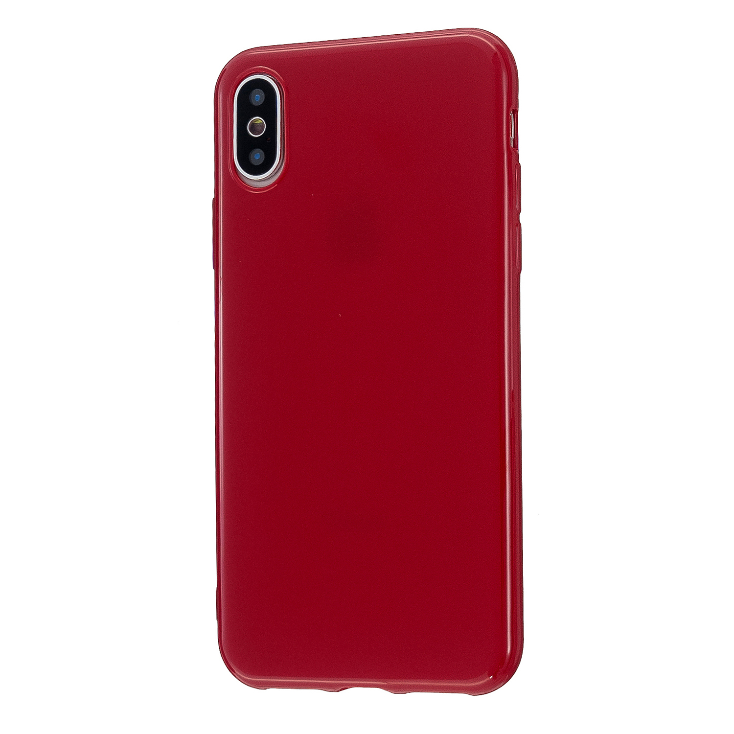 For iPhone X/XS/XS Max/XR  Cellphone Cover Slim Fit Bumper Protective Case Glossy TPU Mobile Phone Shell Rose red