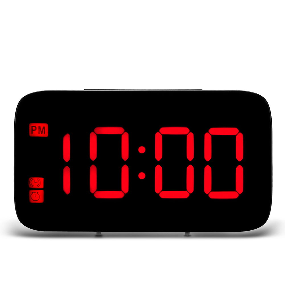 USB Charging Digital LED Display Alarm Clock with Voice Control  red