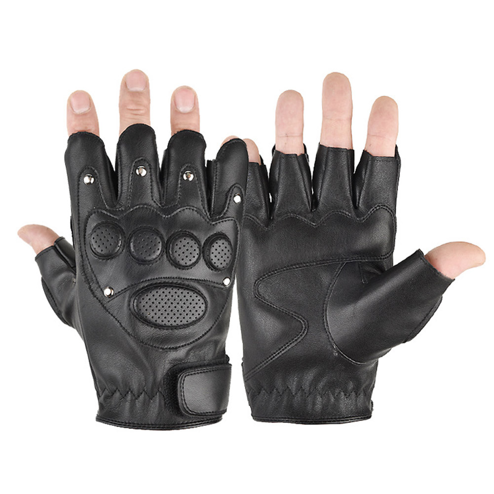 Motorcycle Gloves PU Breathable Half Finger PU Leather Motorcycle Gloves for Riding Cycling Fishing Sport Style One_One size