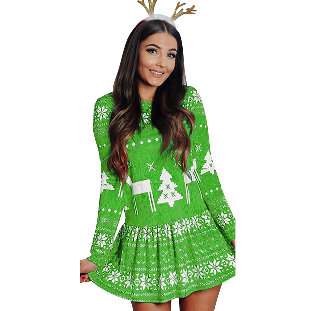 Women's Dress Slim Long-sleeve Crew-neck Printing Short Skirt green_XL