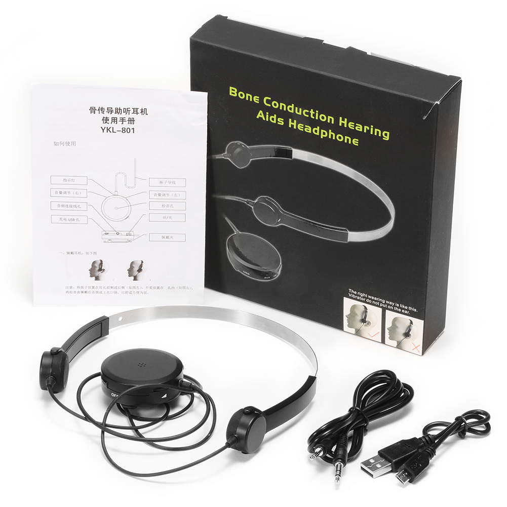 Hearing Aid Bone Conduction Headphones Headset Elderly Earphones for Hearing Difficulties black