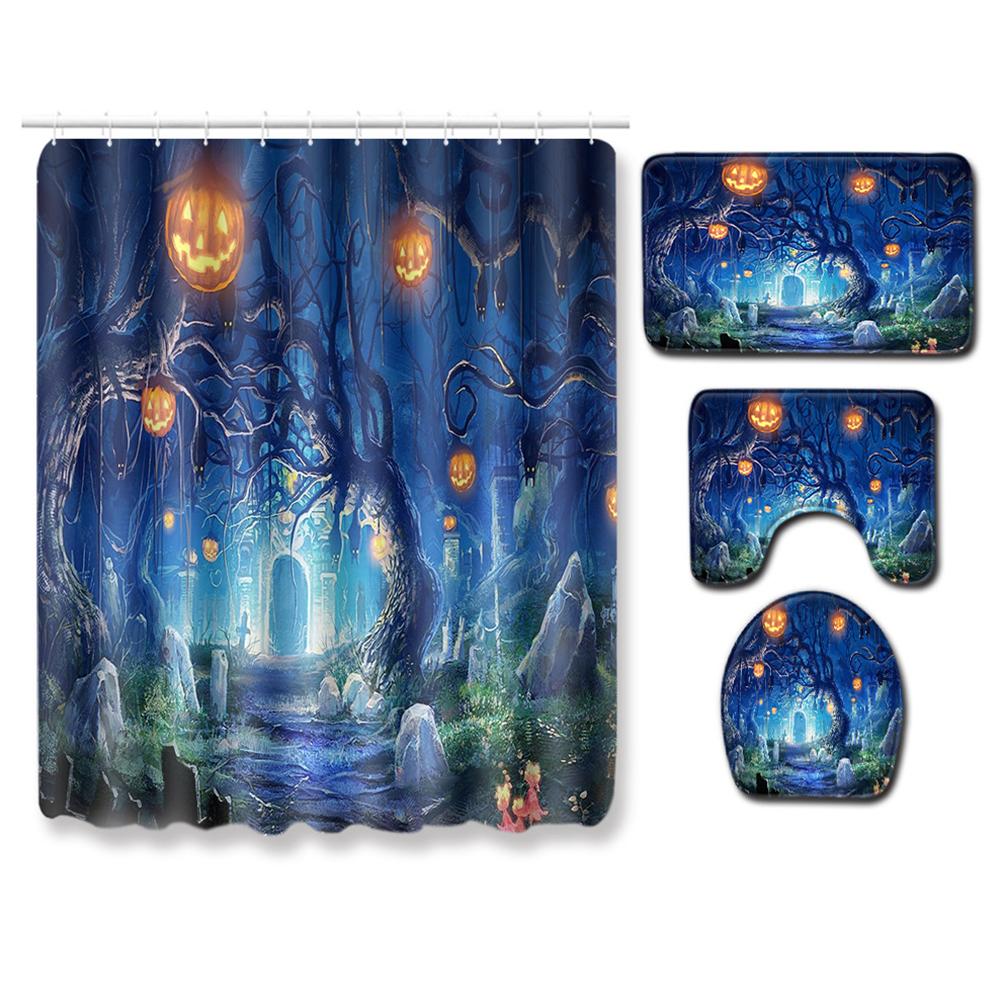 4Pcs/Set Halloween Series Toilet Cover Mat Non Slip Rug Bathroom Shower Curtain Set PJ19822-A028_180*180 shower curtain +45*75 three-piece floor mat set