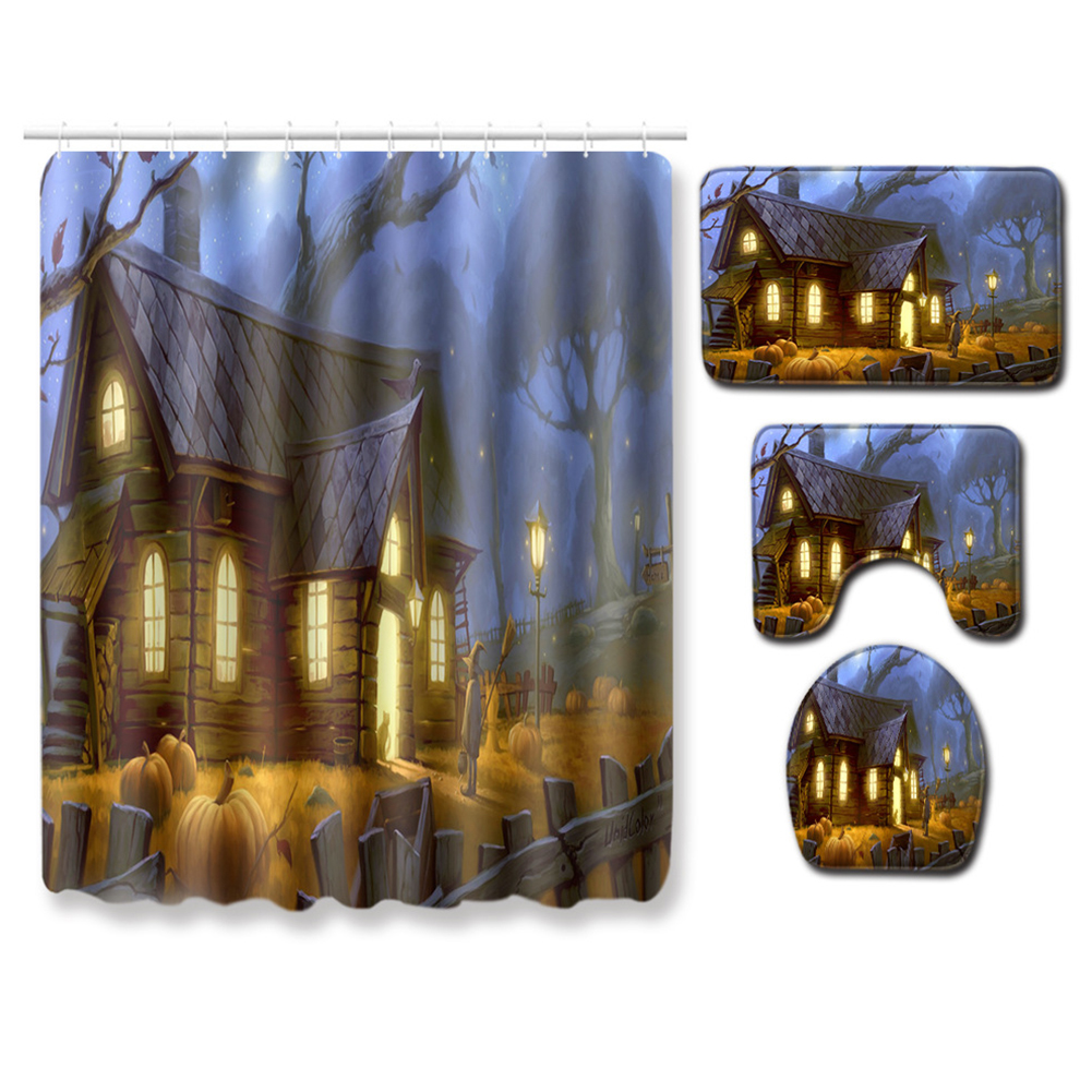 4Pcs/Set Halloween Series Toilet Cover Mat Non Slip Rug Bathroom Shower Curtain Set PJ19822-A029_180*180 shower curtain +45*75 three-piece floor mat set