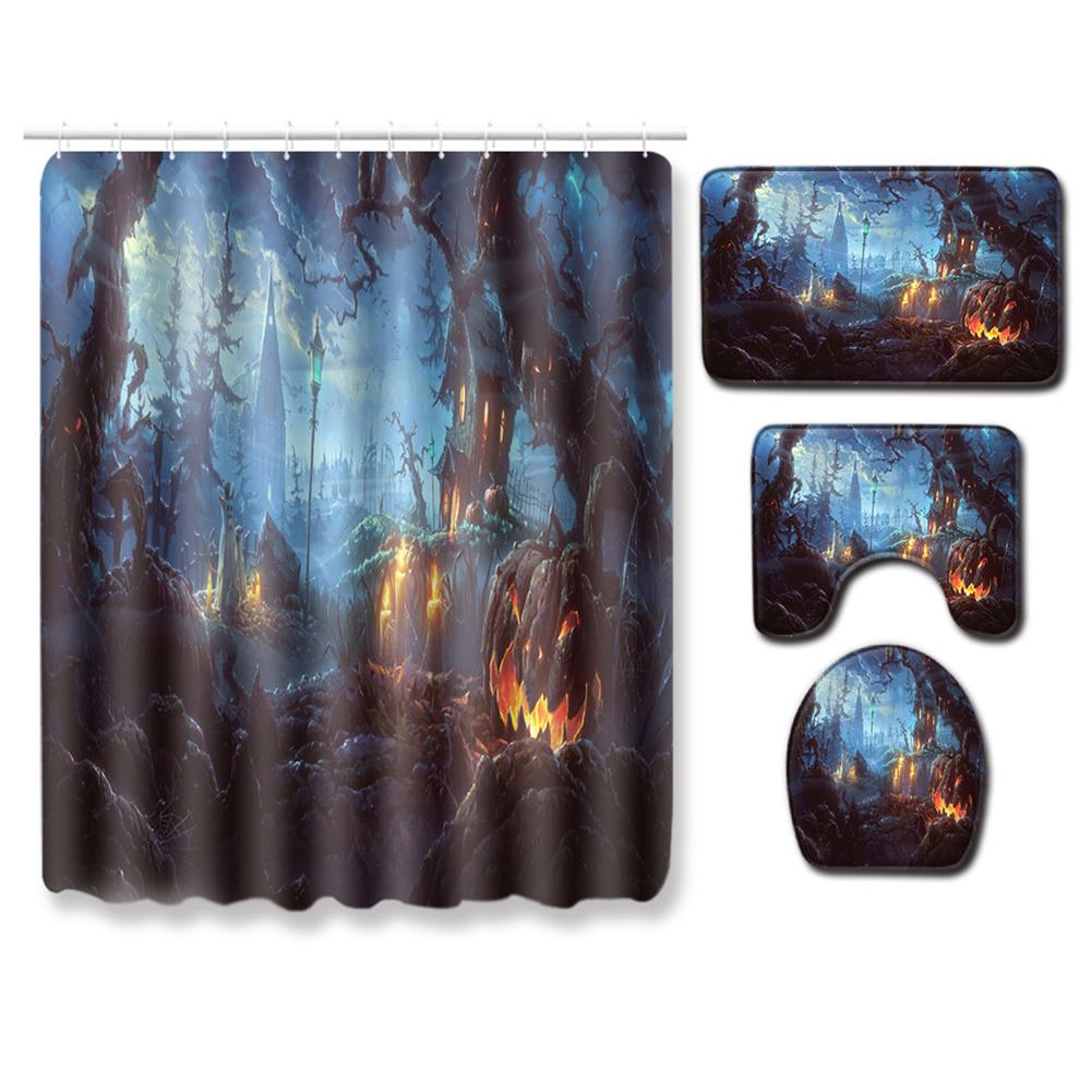 4Pcs/Set Halloween Series Toilet Cover Mat Non Slip Rug Bathroom Shower Curtain Set PJ19822-A027_180*180 shower curtain +45*75 three-piece floor mat set