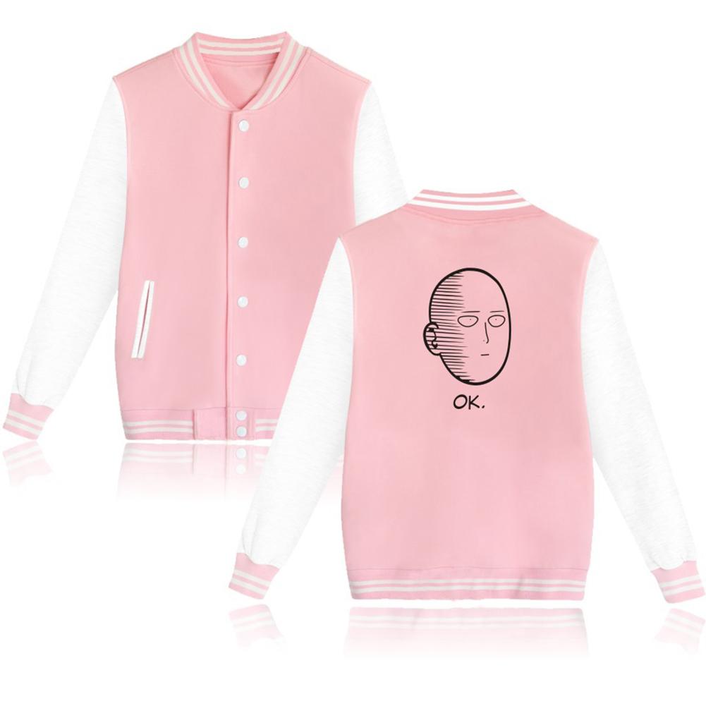 Autumn Winter Fashion Printing Baseball Uniform Coat LF-107ab-2 pink_XL
