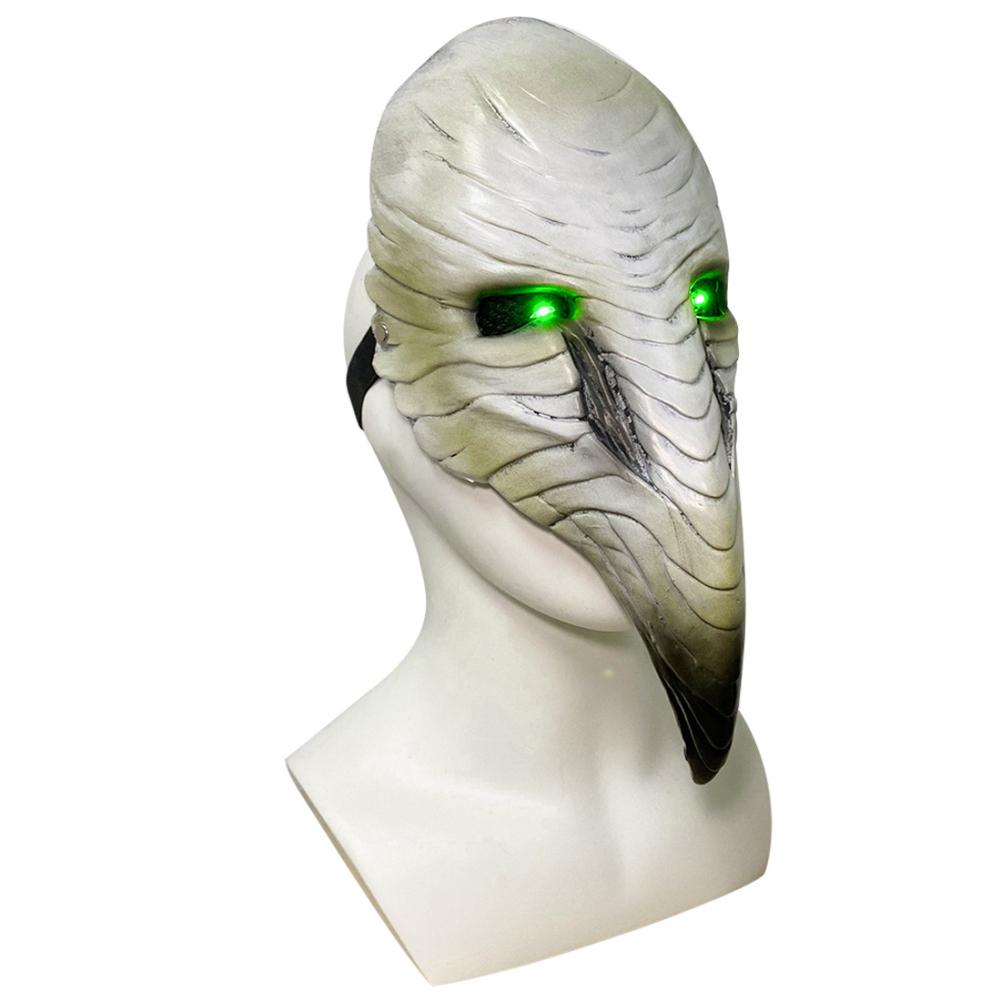 Plague Doctor Bird Mask Long Nose Beak Cosplay Steampunk Halloween Costume Props Latex Material Bone beak glowing