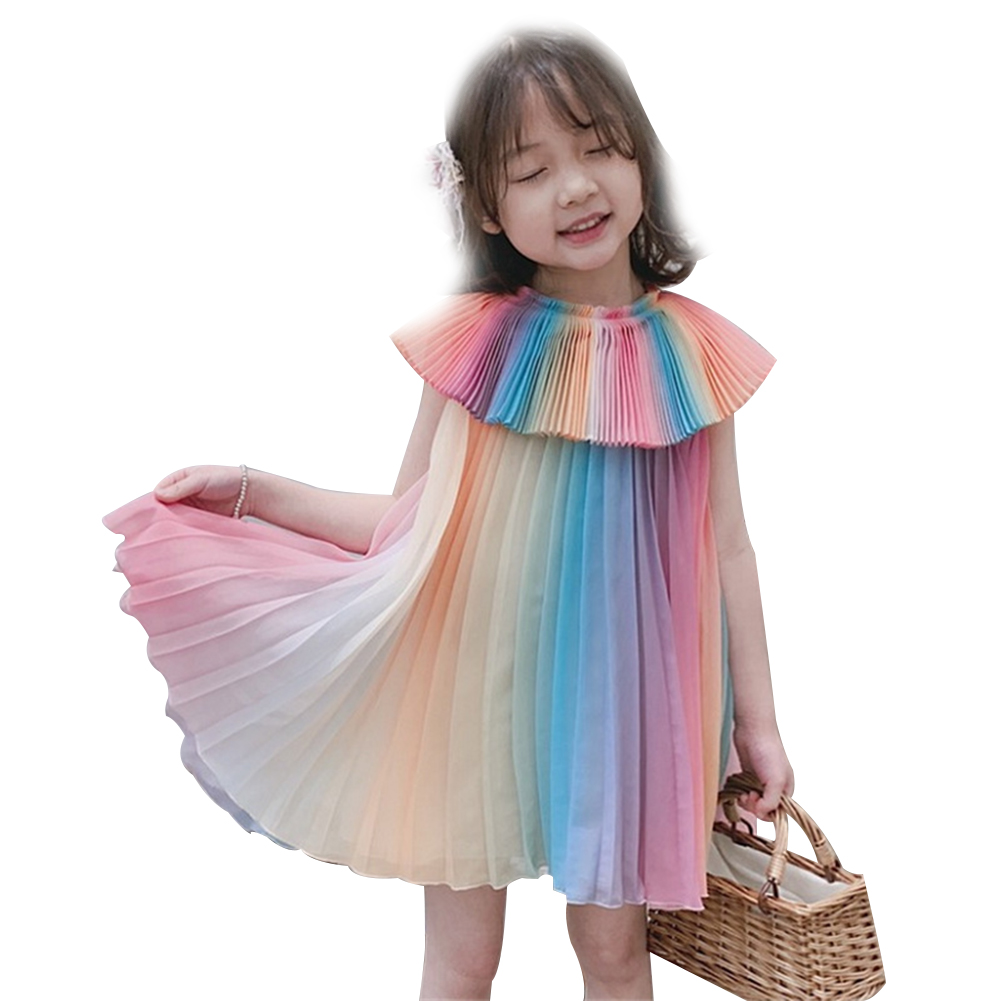 Children Girl Dress Rainbow Color Pleated Dress Princess Skirt As shown in color_2XL (15 is suitable for 125-130cm)