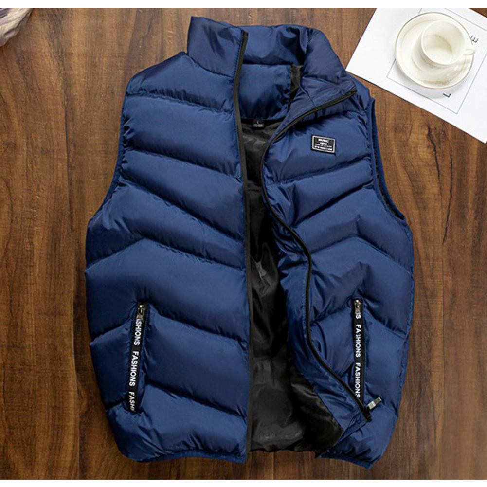 Casual Vest Men Winter Jackets Thick Sleeveless Coats Male Warm Cotton-Padded Waistcoat blue_M