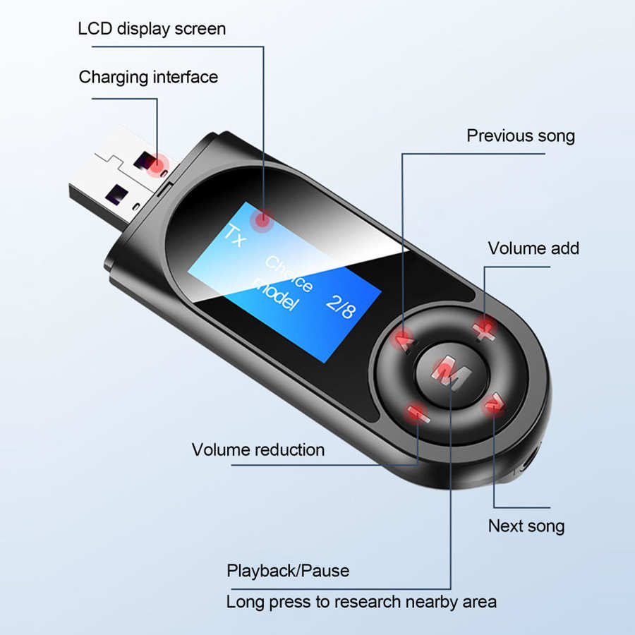 Audio Adapter LCD Screen Display Bluetooth 5.0 Receiving and Transmitting 2 in 1 Hands Free Call black