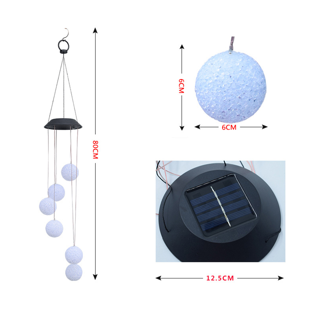 Solar Powered Wind Chime Shape LED Hanging Lawn Lamp for Garden Particle ball wind chime lights colorful