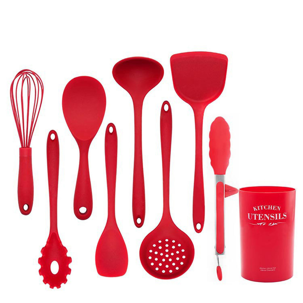 Silicone Cooking Tools Kitchen Utensils Heat-resistant Nonstick Spatula/Shovel/Soup Spoon 9 PCS/ set