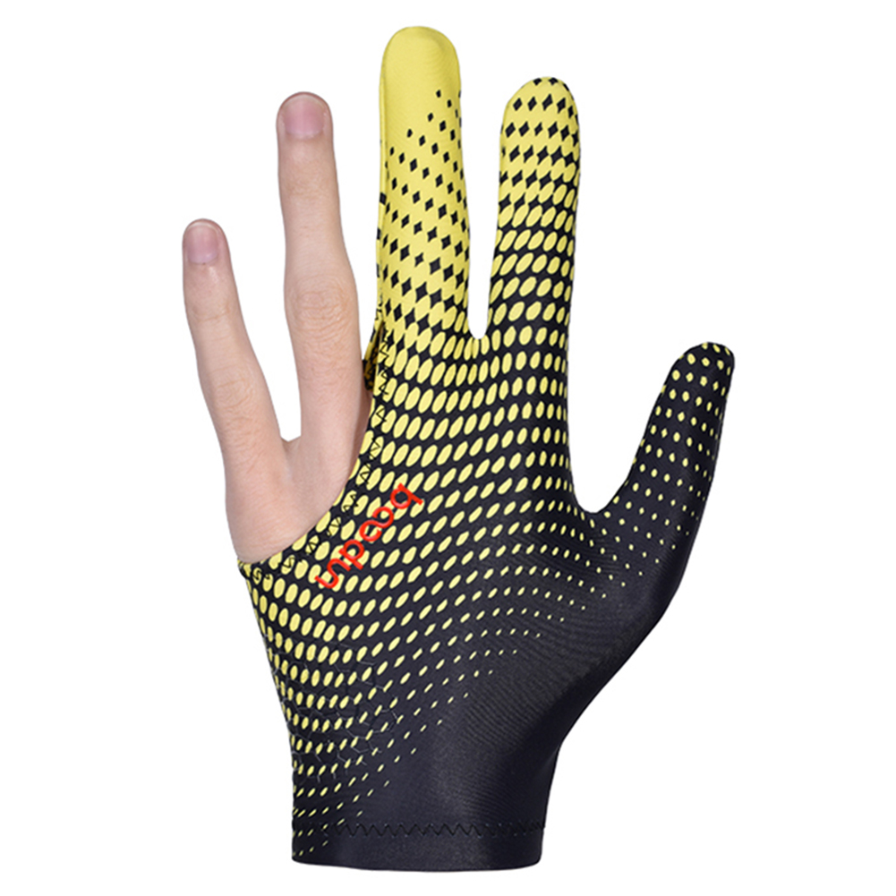 Billiard Gloves Three Fingers Lycra Anti Skid Snooker Pool Glove Left Hand Billiard Accessories Black and yellow_One size