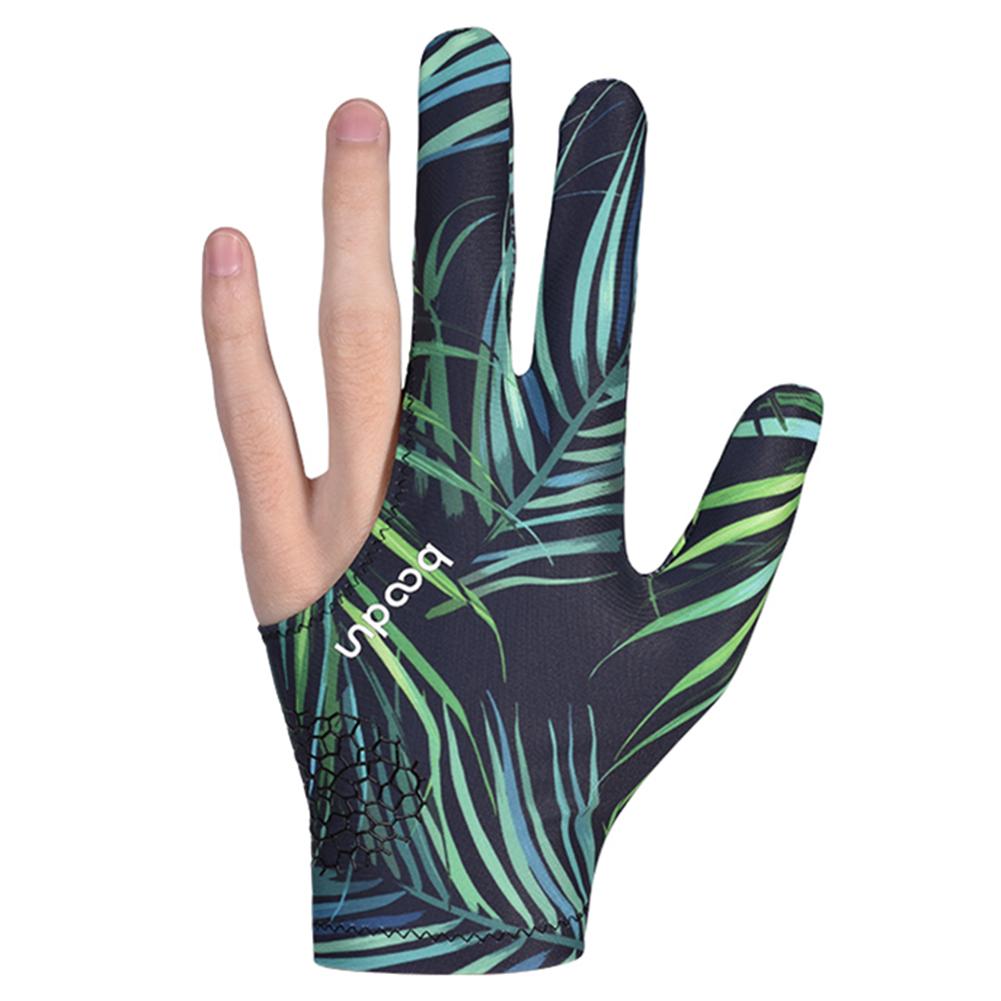 Billiard Gloves Three Fingers Lycra Anti Skid Snooker Pool Glove Left Hand Billiard Accessories Leaves_One size