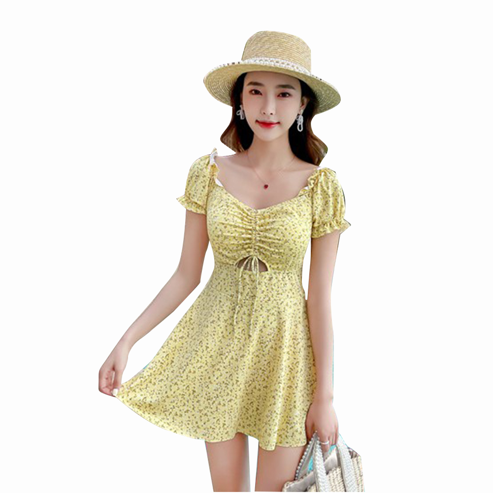 2 Pcs/set Women Swimming Suit Floral Printing One-piece Skirt-style Swimwear+ Shorts yellow_L