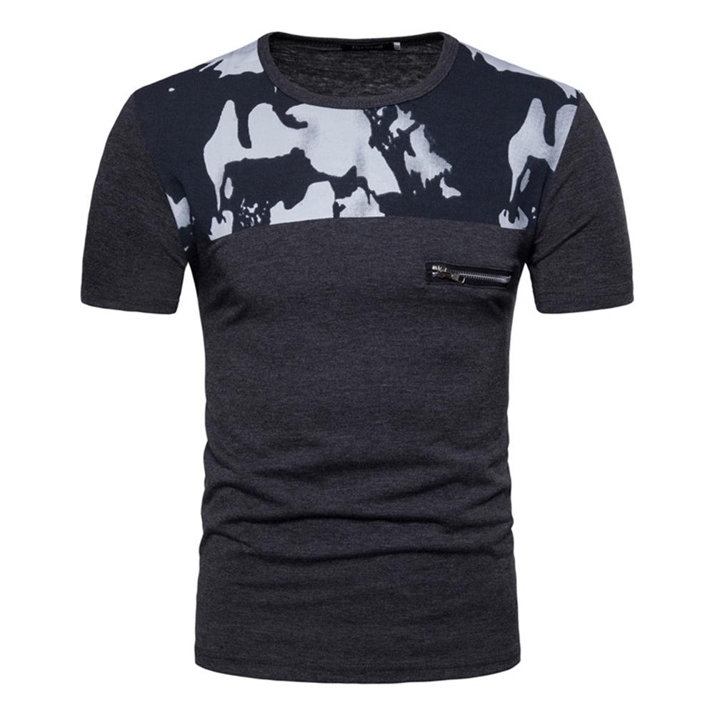 Men Fashion Slim Short Sleeve Color Matching Round Collar T Shirt Dark gray_M