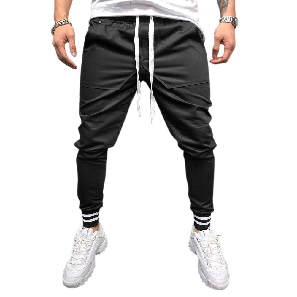 Men Jogger Pants Urban Hip Hop Casual Trousers Pants Fitness Sports Slacks  black_XL