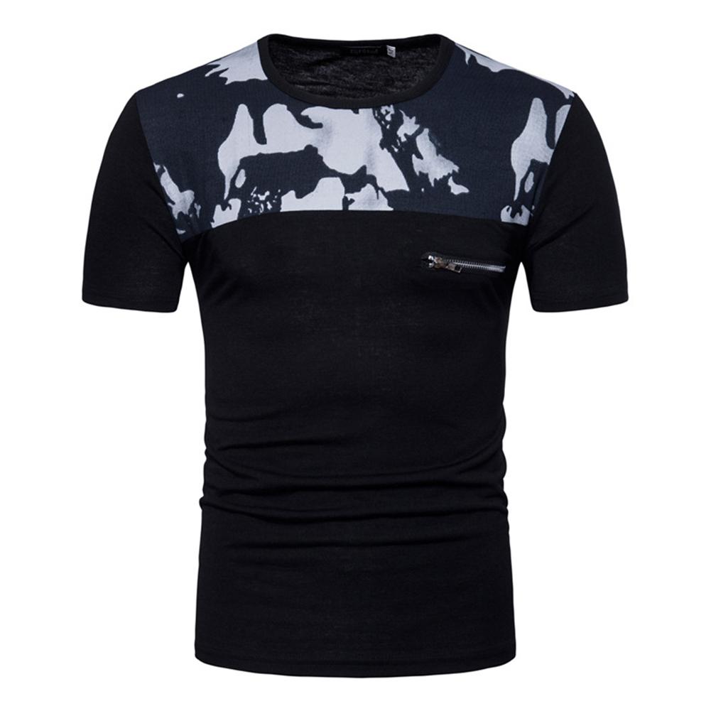 Men Fashion Slim Short Sleeve Color Matching Round Collar T Shirt black_XL