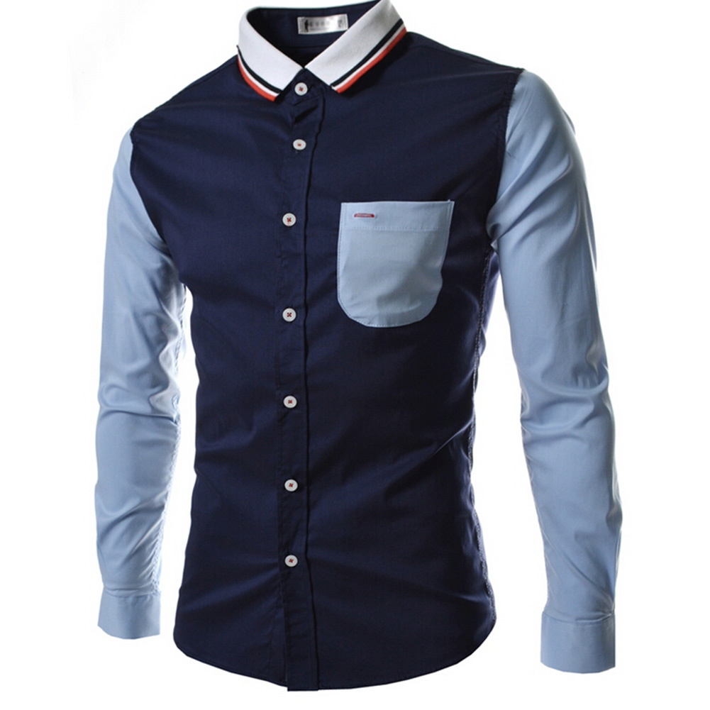Male Leisure Shirt Long Sleeves and Turn Down Collar Top Single-breasted Cardigan Navy_L