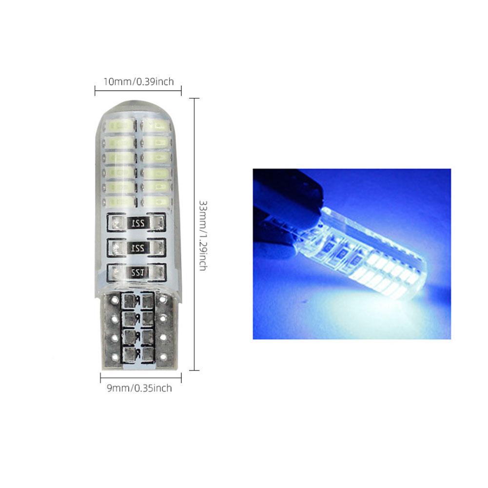 10pcs Silicone Led  Light Car Small Light T10 3014 24smd Width Indicator T10 3014 24smd License Plate Light Blue light