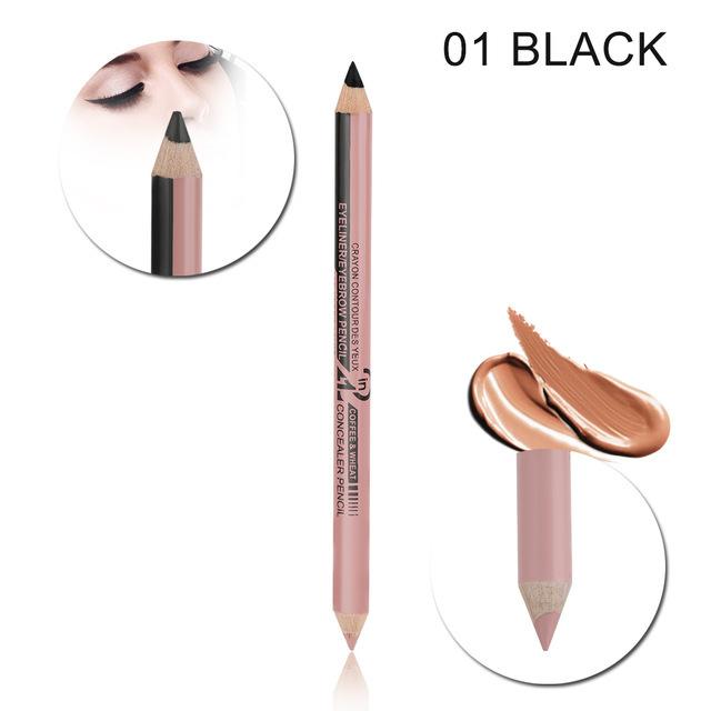 Double-headed  2-in-1 Eyeliner Eyebrow Pencil Concealer Pen Waterproof Eye Make Up 01 # black + nude pink_12 pcs
