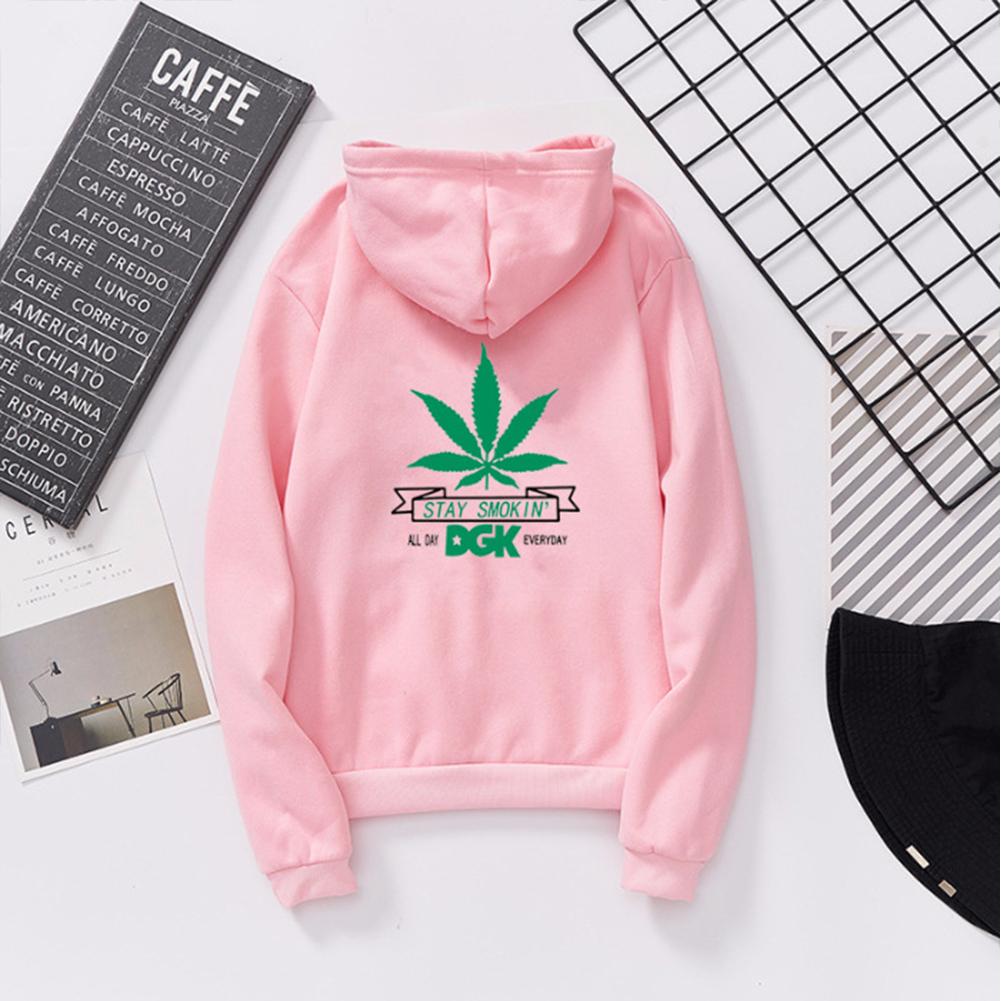 Men Women Ptinted Fleece Loose Thickened Long Sleeve Sweatshirts Hoody Pink 993#_XL