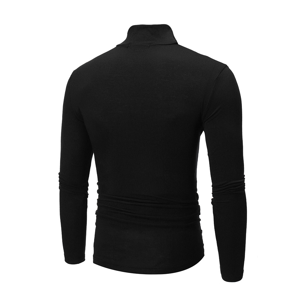 Men High Collar Pullovers Solid Color Long Sleeve High Collar All-matching Tops  black_3XL