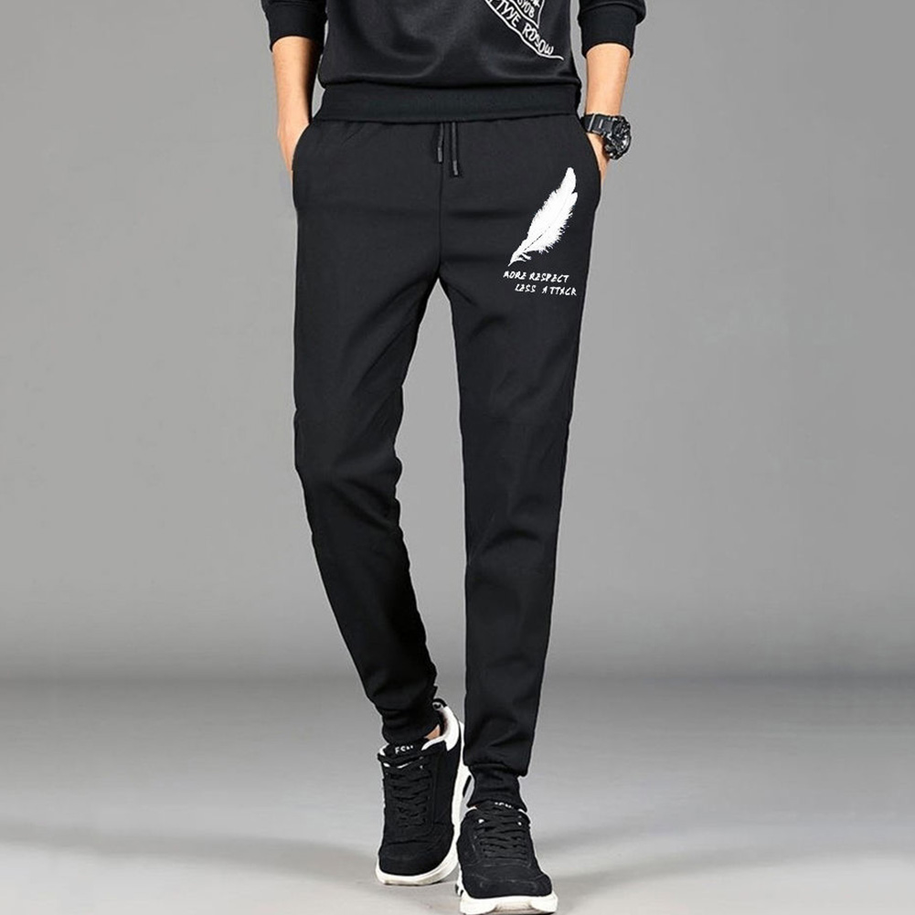 Men Spring And Summer Thin Casual Slim Harem Pants Drawstring Trousers Feather_M