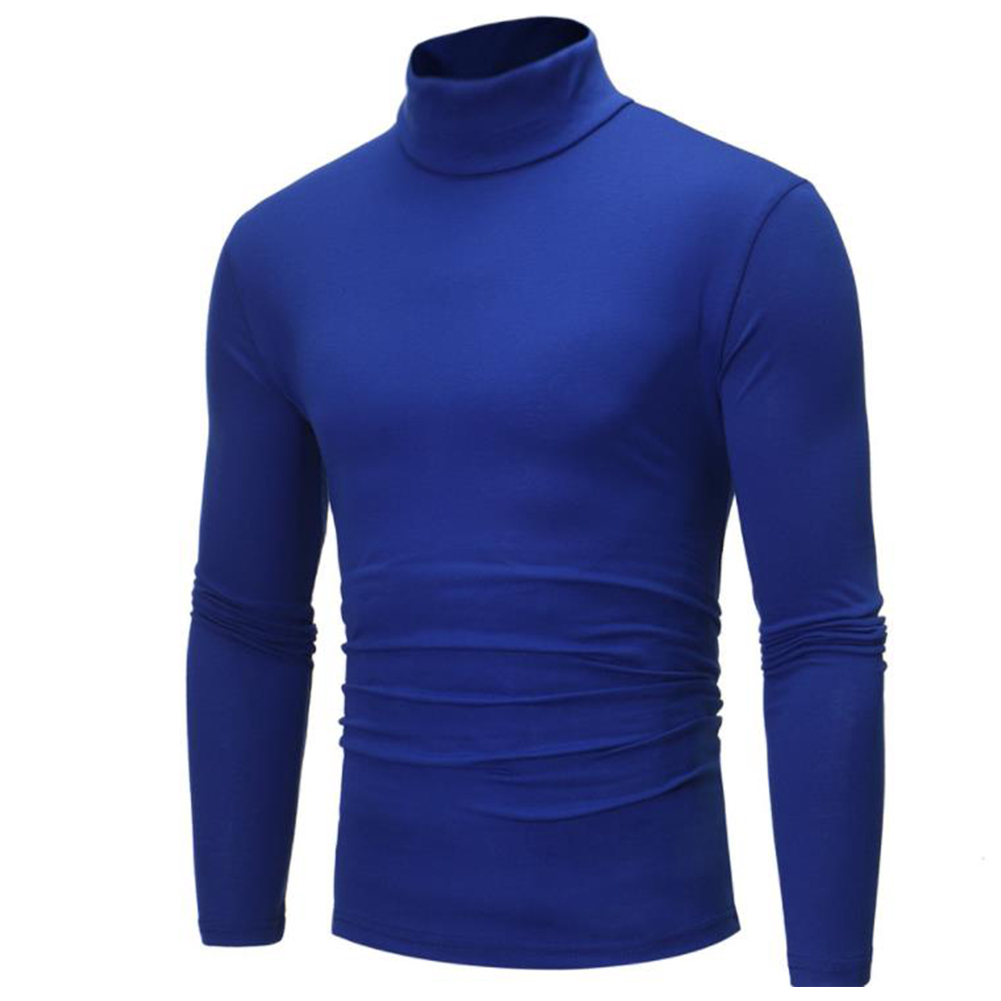 Men High Collar Pullovers Solid Color Long Sleeve High Collar All-matching Tops  blue_L