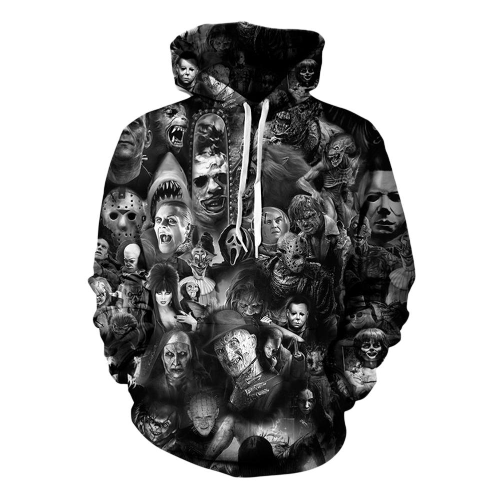Unisex 3D Digital Stylish Skull Print Hooded Baseball Sweatshirts Fashion Pullover Tops Figure 1_L