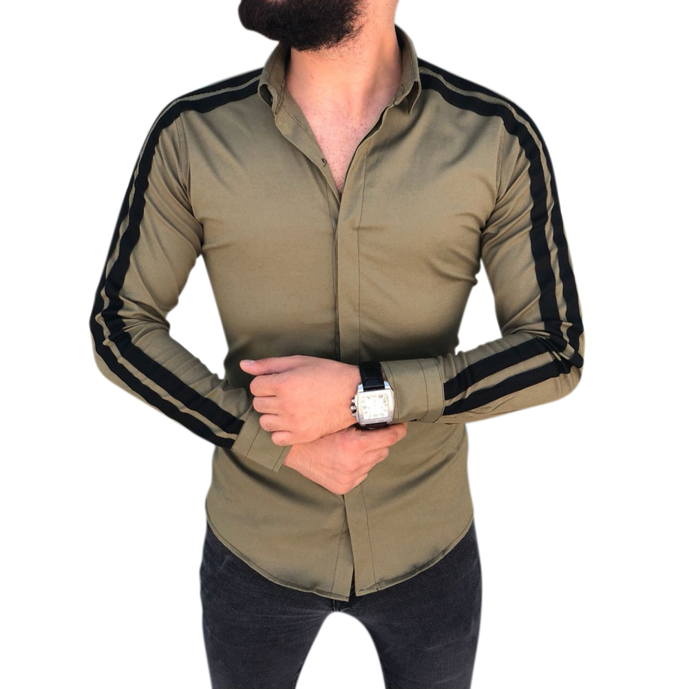 Men Stylish Casual Matching Dress Shirt Slim Fit T-Shirt Long Sleeve Formal Tops ArmyGreen_L