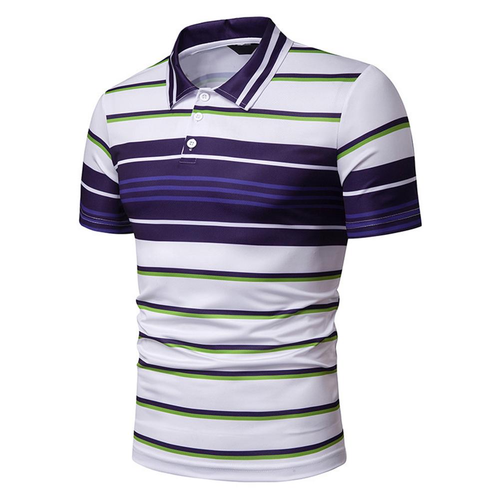 Men Summer Shirts Color Matching Stripes Lapel Collar Slim Tops  blue_M