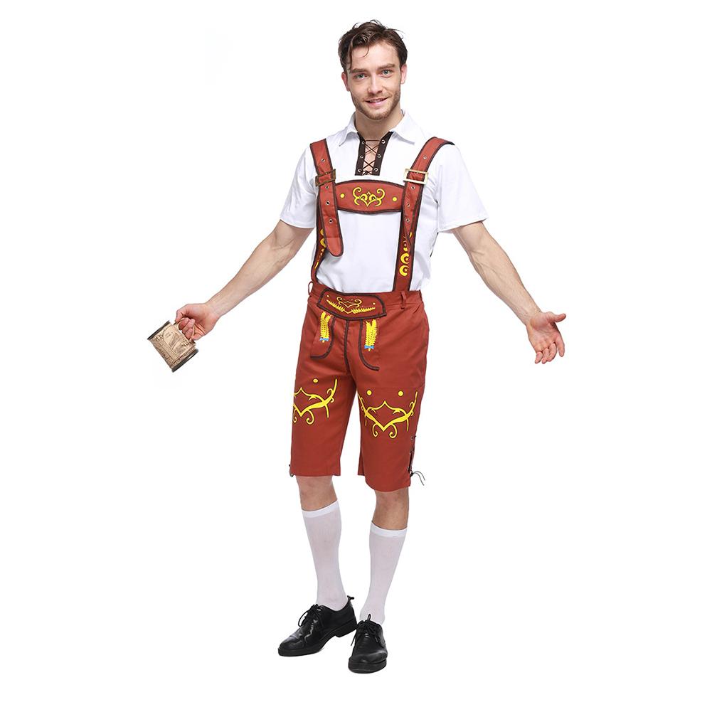 Men Fashion Oktoberfest Costumes Halloween Uniform Beer Costumes Khaki_L