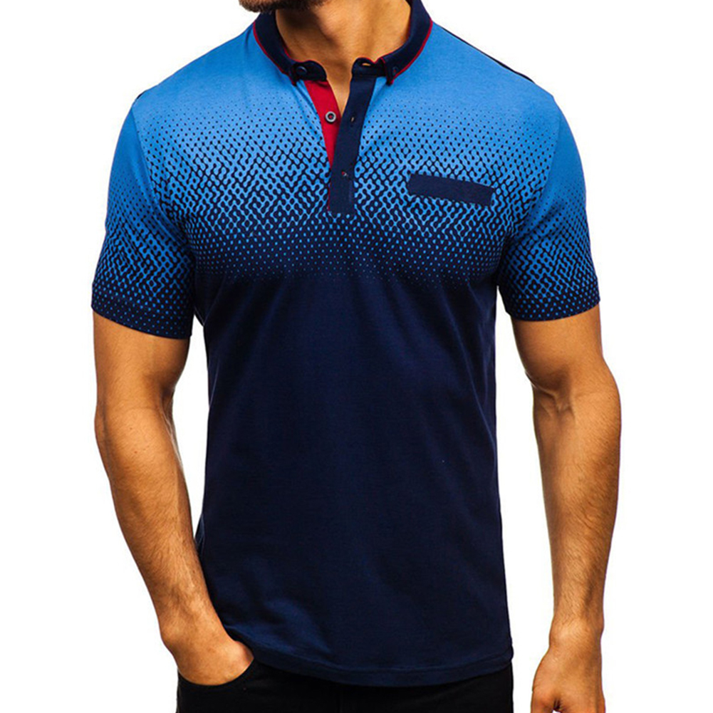 Man Summer 3D Printing Short Sleeves Lapel Polo Shirt  Navy_XL