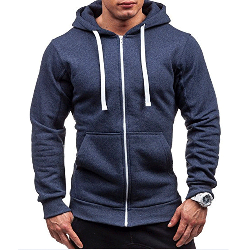 Men Warm Solid Color Zipper Slim Fleeced Hooded Sweatshirt Navy_XL--