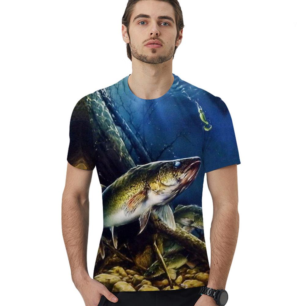 3D Digital Printing Round Neck Short Sleeves Loose Large Size T-shirt Black fish_XL