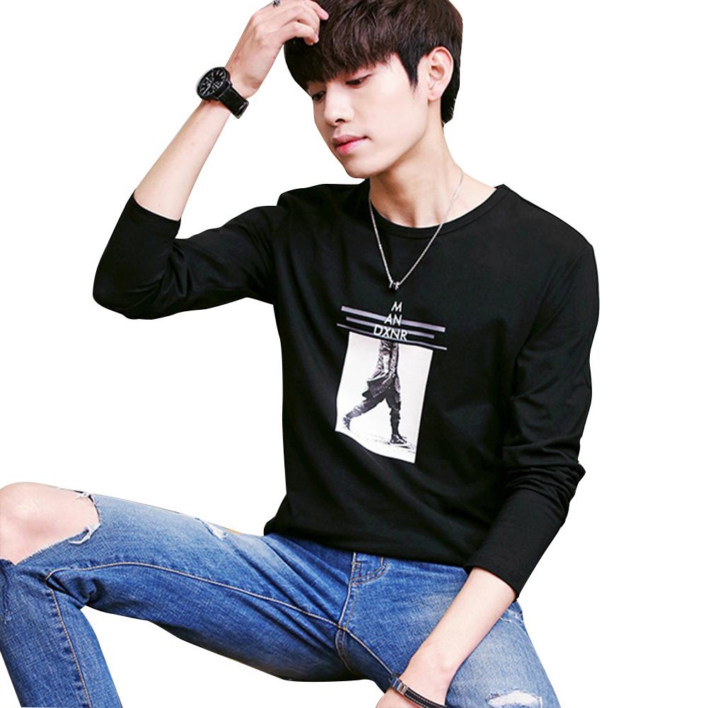 Men Long-sleeved Round Collar T-shirt Slim Shirt Old duck headless person [long sleeve] black_(170cm/62.5kg) XL