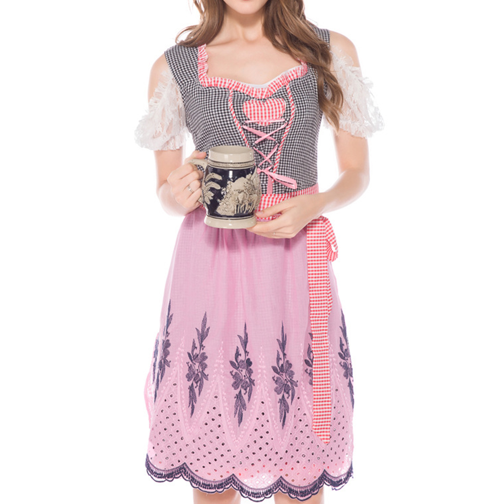 Female Bavarian Lace Dress Plaid Pattern Halloween Party Cosplay Dress Costume Pink_S