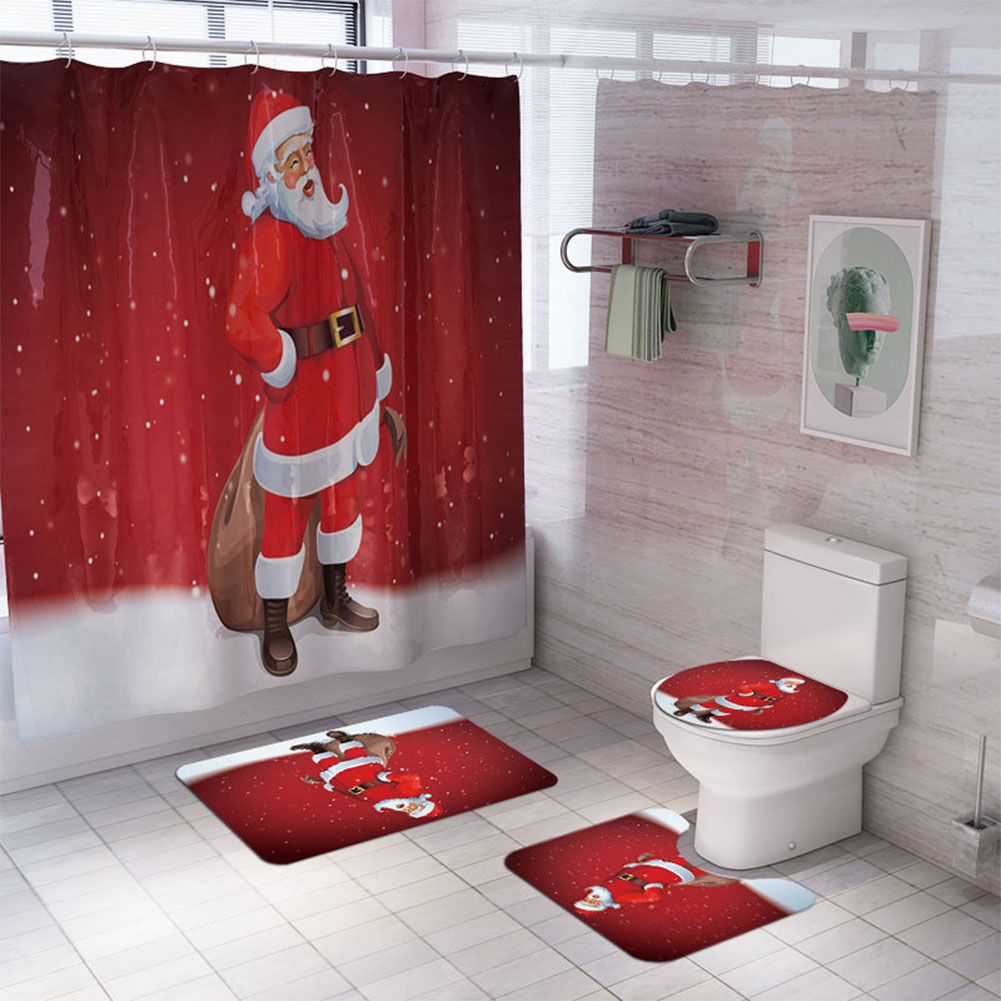 Santa Claus/Christmas Snowman/Christmas Tree Pattern Printing Shower Curtain + Floor Mat +Toilet Seat Cover+ Foot Pad Set Y143_As shown