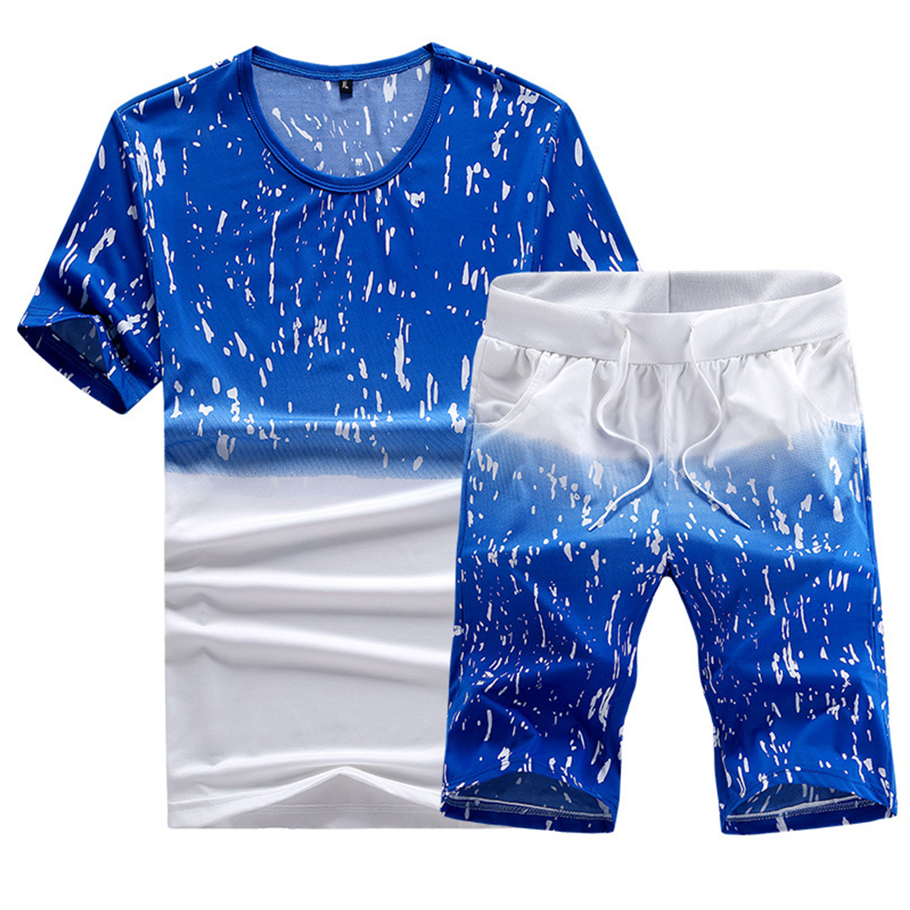 Men Summer Loose Round Neck Casual Short-sleeved T-shirt Sports Suit Outfit blue_5XL