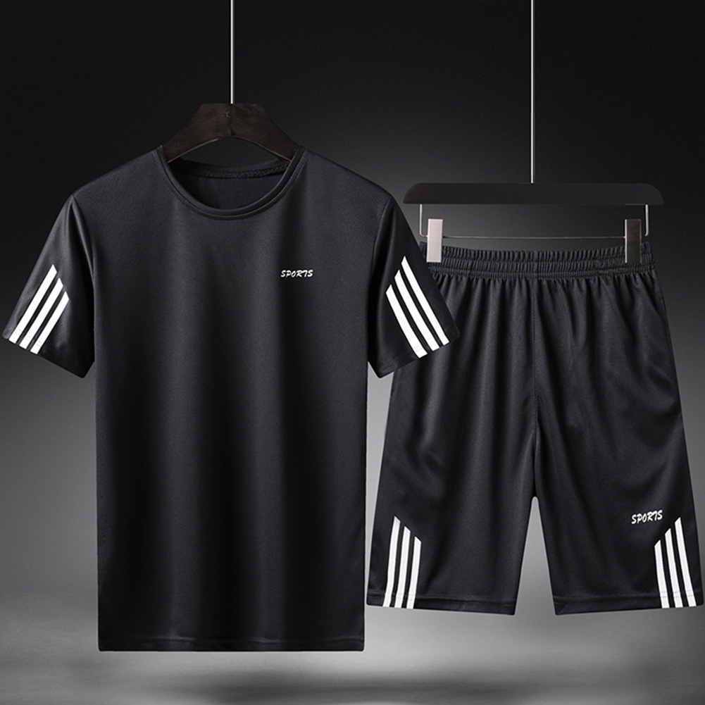 Male Sports Wear Quick Dry Casual Training Suits for Man Basketball Football Jogging black_L