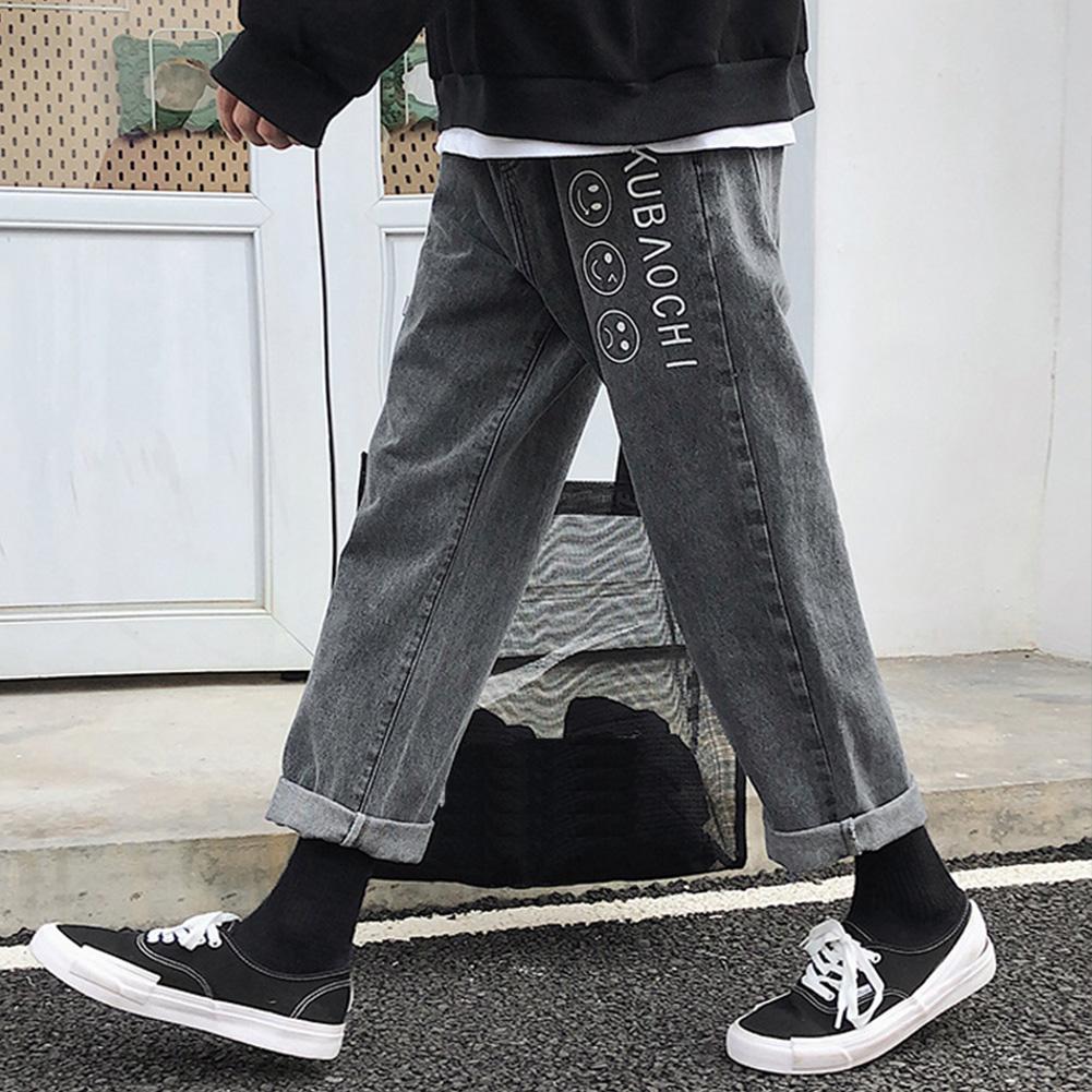 Men Fashion Jeans Denim Pencil Pants Facial Expression Loose Casual Straight Trousers  Black_L