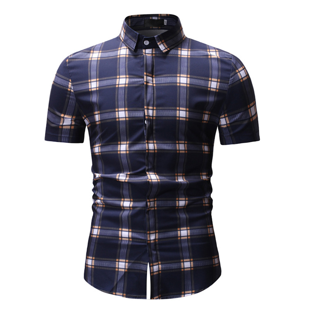 Male Plaid Printed Leisure Shirt of Short Sleeves and Turn-down Top Cardigan Slim Costume Yellow lattice_XXL