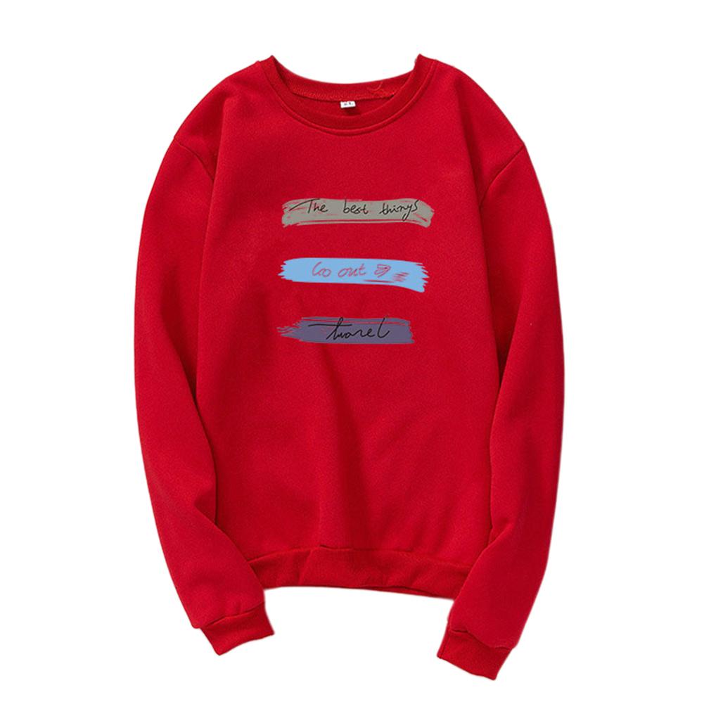 Men Women Long Sleeve Autumn Fleece Loose Coat Sweatshirts for Casual  red_XL