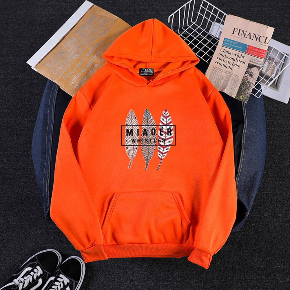 Men Women Hoodies Oversize Sweatshirt Loose Thicken Velvet Autumn Winter Pullover Orange_XL