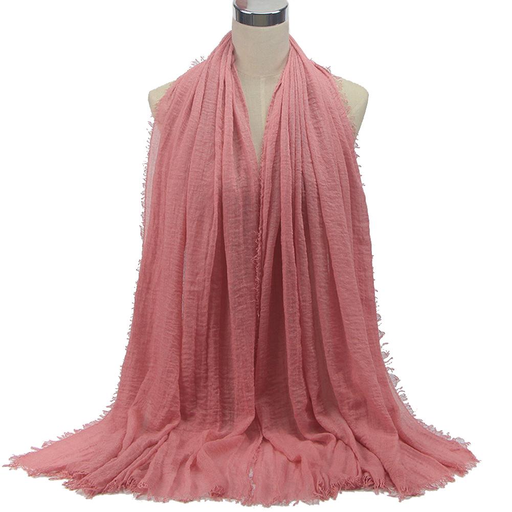 Women Fashion Monochrome Cotton Linen Scarf Breathable Headscarf