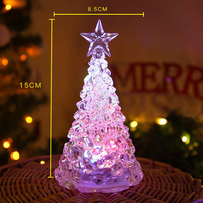 LED Night Light Artificial Crystal Christmas Tree Decoration for Bedroom Medium